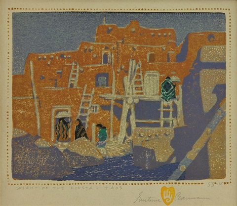 night of the fiesta taos 1924 by gustave baumann