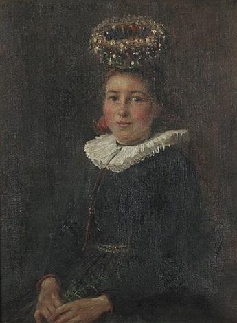 sitzende junge gutacherin mit schäppel by wilhelm g hasemann