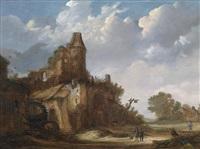 reisende in einer landschaft mit einer burgruine und einer wassermühle by roelof van vries
