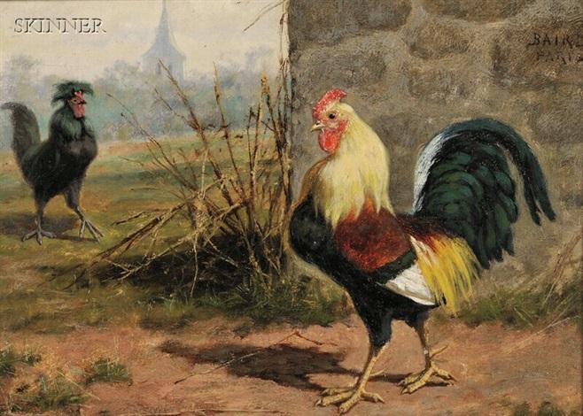 barnyard encounter cockfight 2 works by william baptiste baird