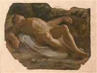a reclining nude pierced by an arrow, a study for a saint sebastian by pietro faccini