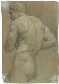 stehender männlicher rückenakt nach links (herkules) by franz pforr