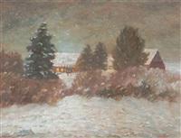 moorgehöft am winterabend by heinz dodenhoff
