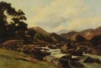 an extensive upland rocky river landscape by edward henry holder