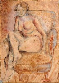 girl on a chair by léopold gottlieb