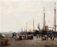 bedrijvigheid van vissers bij bomschuiten op het scheveningse strand, in de verte seinpost by cornelis koppenol