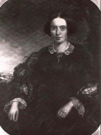 portrait of a lady, seated three-quarter length in a black dress with a tartan shawl and a lace collar by b. hubbard