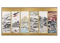 landscape in toyama (byobu) (6 works) by hitoshi komatsu