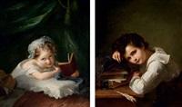 portrait de jeune garçon accoudé à ses livres (+ portrait de jeune fille tenant un livre; pair) by louis aimé grosclaude