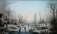 patineurs en hiver by albert-alexandre lenoir