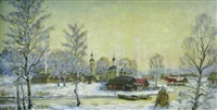 moscow, winter landscape by vicktor koryshev
