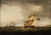 royal naval frigates and other craft off the kent coast - a pair, one by thomas whitcombe