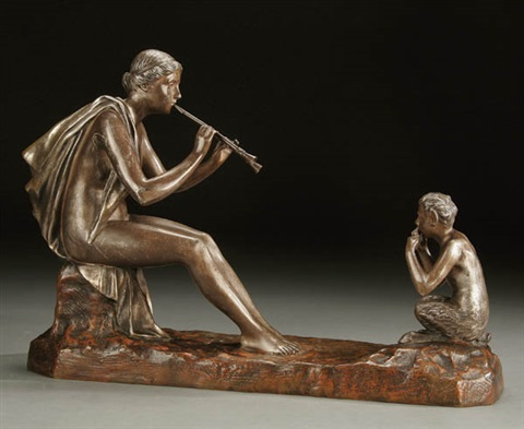 pan instructing a nymph on the flute by gustavo obiols delgado