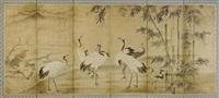 neben einem luftigen bambushain steht eine gruppe von kranichen, angeregt schnatternd (in 6 parts) by japanese school (18)