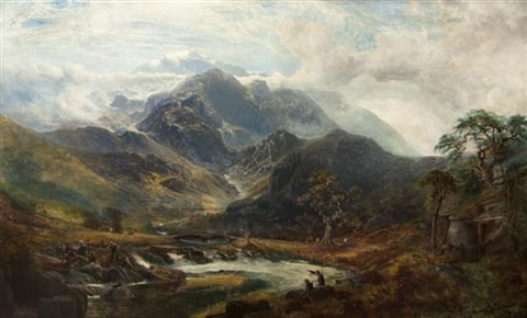 an otter hunt on a mountain stream by charles pettitt