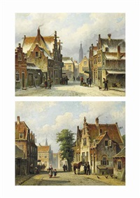 a sunlit street in haarlem, the tower of the st. bavo in the distance; a snow-covered street in delft, with the nieuwe kerk (pair) by eduard alexander hilverdink