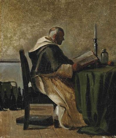 moine lisant dans sa cellule by françois marius granet
