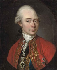portrait of a gentleman in red coat and blue waistcoat, wearing decorations by franz linder