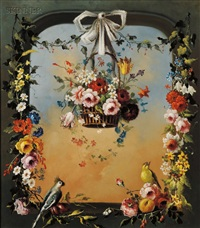 basket of flowers in an archway by jeannine albert