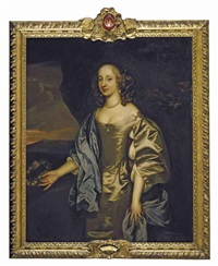 portrait of lady mary o'kenealy in an oyster satin dress with a blue mantle, holding a garland of flowers, in a landscape by john hayls