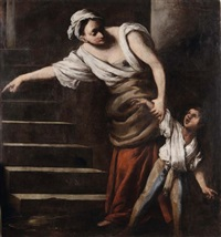 figura femminile con bambino by pietro muttoni