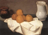 a still life with orange and jug by josé maria santa-marina