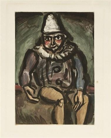 clown assis, ou vieux clown (for andré suarès, cirque) by georges rouault