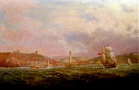 a view of whitby from the sea by thomas dove