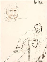 seated man in chair and lady (figure study) by joy hester