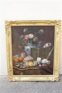 composition au bouquet dans un vase chinois, confiseries, fruits et perles sur une table en marqueterie boulle by gustave emile couder