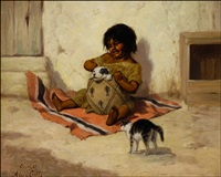 child with puppy and kitten by alice gray coutts
