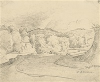 landschaft im modautal im odenwald (from sketchbk) by august lucas
