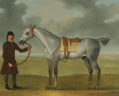 mr thomas pantons crab a grey racehorse being held by a groom on newmarket heath by james seymour