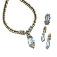 parure comprising a necklace, a pair of earrings and a ring en suite (set of 3) by fred