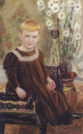 lille dreng siddende på bænk ved hans side prydvase med margueriter by martin aronson liljegral