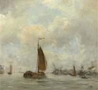 sailing vessels near the harbour entrance by hobbe smith