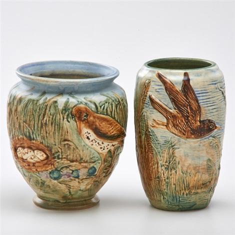Ovoid Glendale Vase Bulbous Glendale Vase 2 Works By Weller Pottery