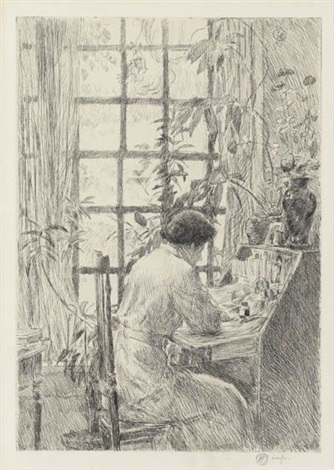 the writing desk by childe hassam
