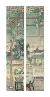 court with wisteria (set of 4) by anonymous-chinese (qing dynasty)