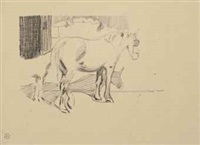study of a mare with a foal; a study of a groom (2 works) by robert polhill bevan