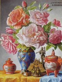 stilleben mit rosen und asiatischem dekor vor hellem hintergrund by alois raimund hein