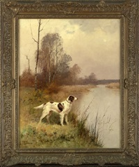 setter in an autumnal river landscape by j. renaud