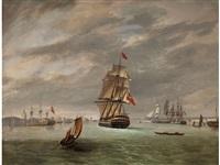 marinebild mit dem schiff von admiral nelson by william anderson