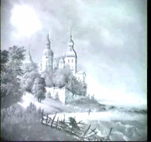 kystparti med slot uvejrsstemning by carl anton saabye