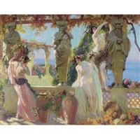 harvesting grapes on the pergola by paul jean gervais