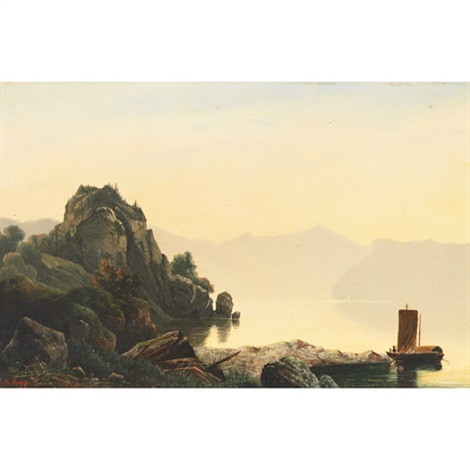 misty lake scene with boaters north italy by johann rudolf rapp
