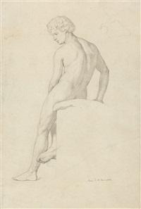 sitzender männlicher akt, von hinten gesehen by julius schnorr von carolsfeld