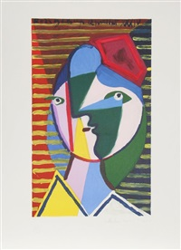 visage de femme sur fond raye by pablo picasso