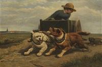 junge mit hundewagen by henriette ronner-knip