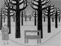ohne titel (frau mit muff in parklandschaft) by maria kloss